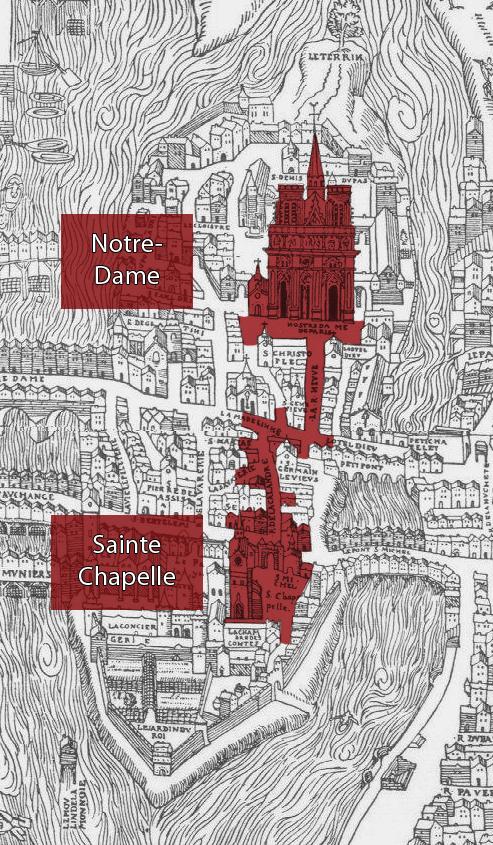 Vue des zones de restitution, sur un extrait du Plan de Bâle