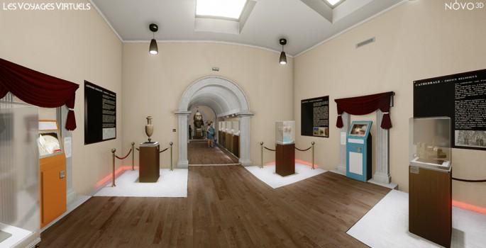 Création d'un musée virtuel à l'architecture et la muséographie semblable à celles d'un musée réel.