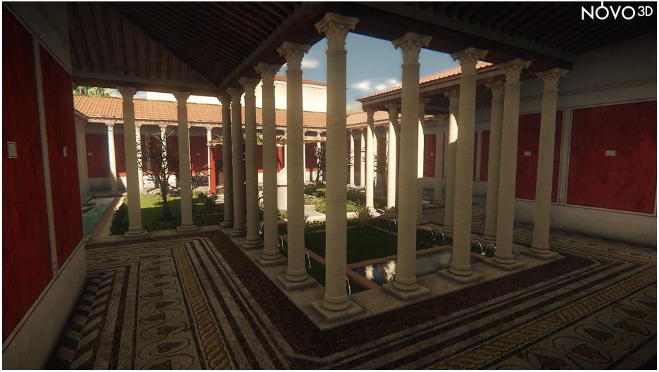 Vue du péristyle d'une villa gallo-romaine